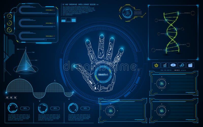 För smart intelligent UI HUD bakgrund för begrepp manöverenhetsskärm för abstrakt begrepp framtida stock illustrationer