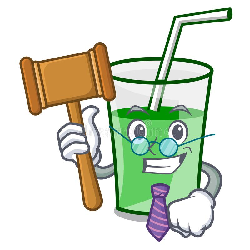 För smoothiemaskot för domare grön tecknad film royaltyfri illustrationer