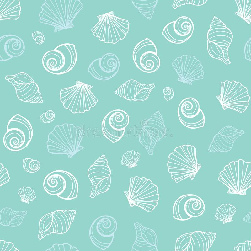 För snäckskalrepetition för vektor pastellfärgad blå modell Passande för gåvasjal, textil och tapet stock illustrationer