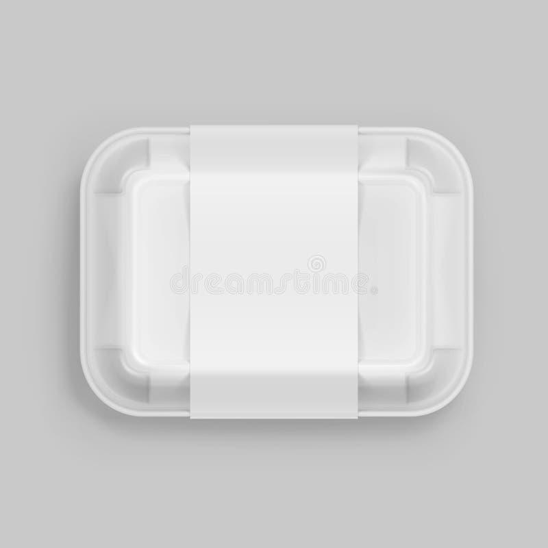 För snabbmatask för vektor packe för emballage för packe för vit behållare förpackande på bakgrund stock illustrationer