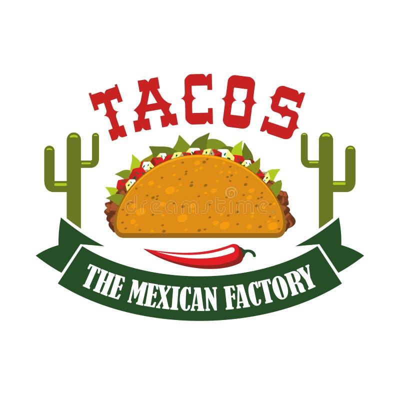 För snabbmatrestaurang för taco mexikansk symbol för vektor vektor illustrationer