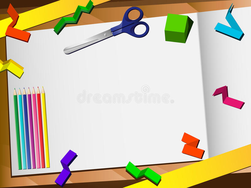 för snittskrivbord för bakgrund 3d papper stock illustrationer