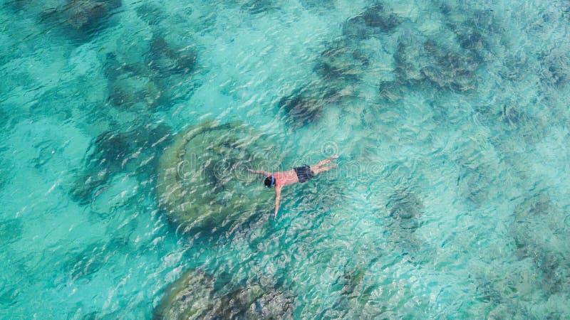 För snorkelman för semester som turist- simning snorklar i klart vatten för paradis Badpojkesnorkeler i kristalliskt vatten och k royaltyfria bilder