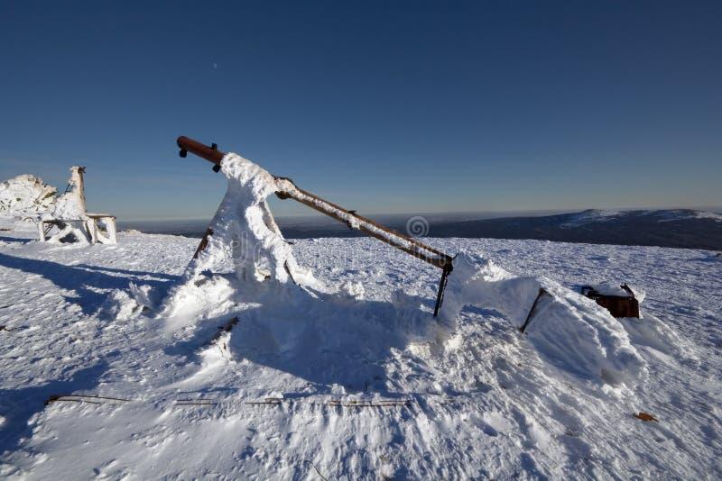 för snowstation för utrustning meteorological väder fotografering för bildbyråer