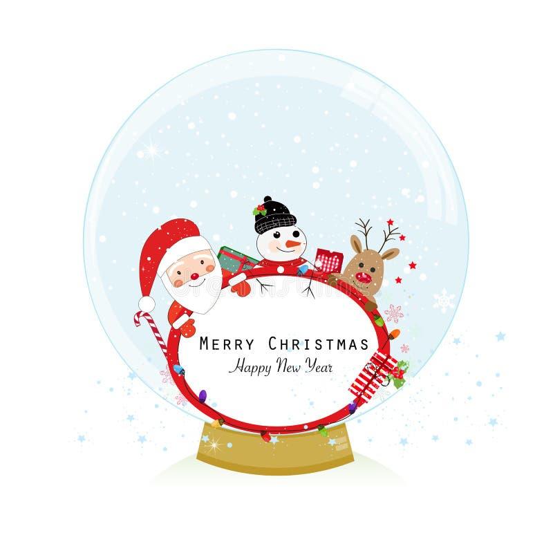 för snowvektor för jordklot illustration isolerad white Santa Claus, hjortar och snöman Kort för hälsning för glad jul för lyckli stock illustrationer