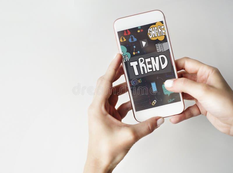 För social begrepp för internet massmediauppdatering för trender online- arkivbild