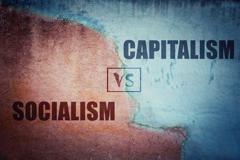 För socialism för kapitalismsplittring kontra betongvägg royaltyfri illustrationer