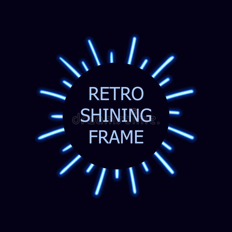 För solbristning för vektor blå Retro ram, skeneffekt, ljusa ljusa linjer royaltyfri illustrationer