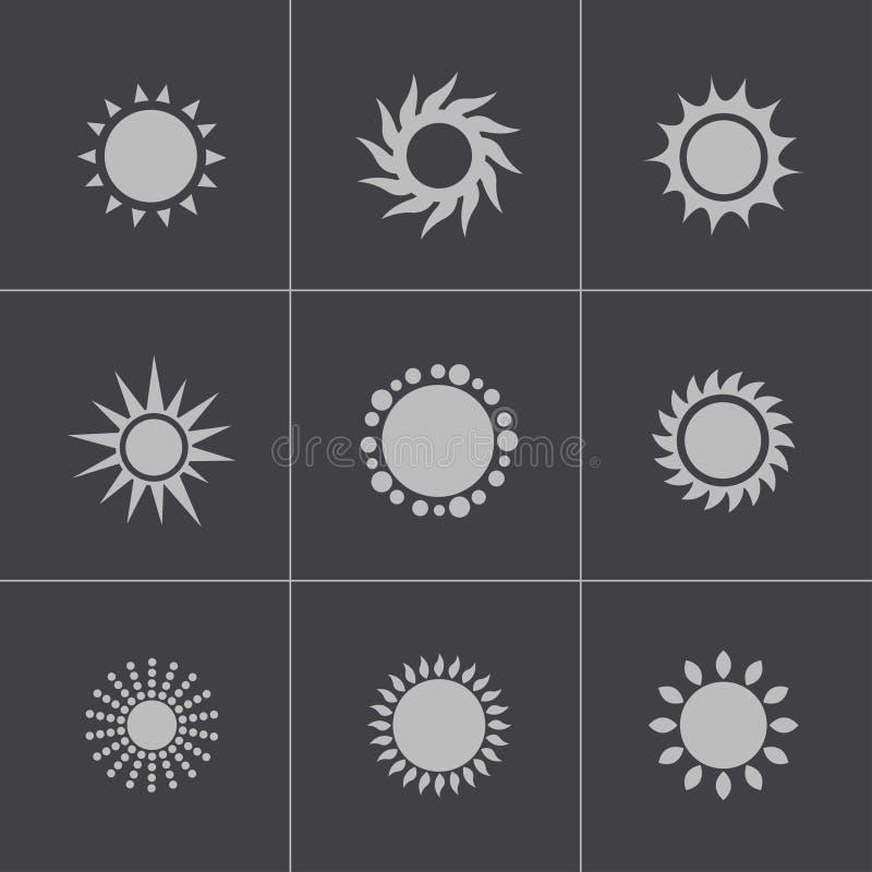 För solsymboler för vektor svart uppsättning royaltyfri illustrationer