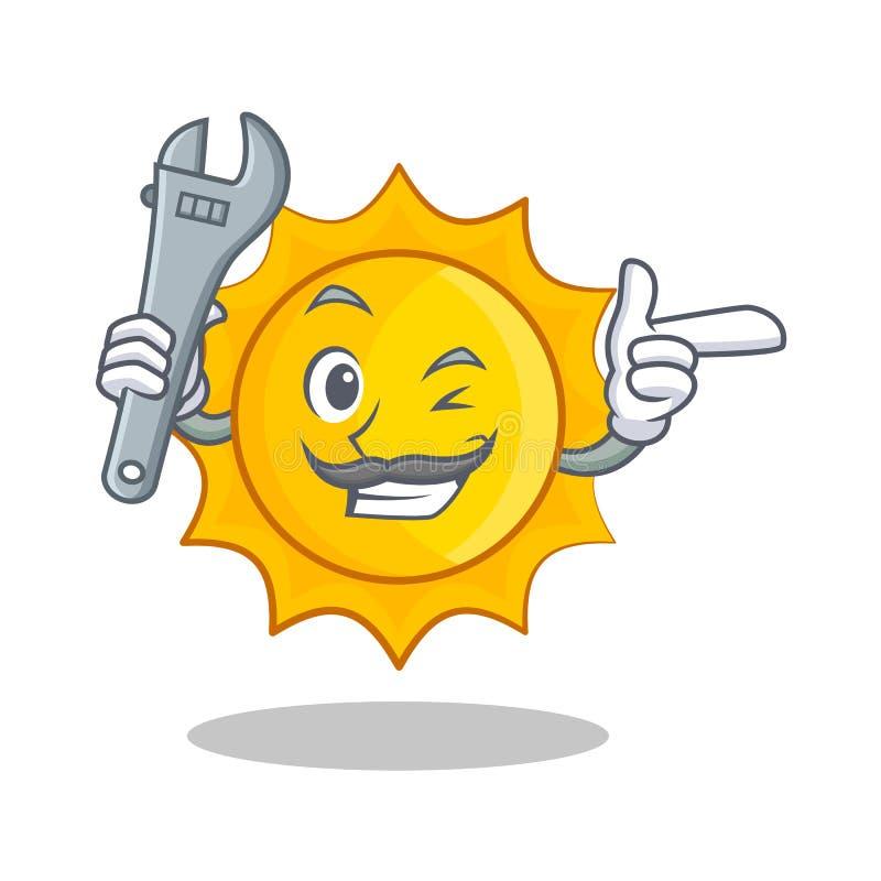 För soltecken för mekaniker gullig tecknad film vektor illustrationer