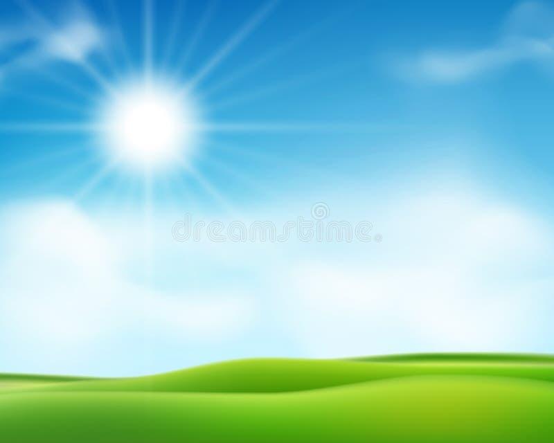 För sommar eller solig morgonbakgrund för vår med blå himmel och den skinande solen Affischdesign för solig dag också vektor för  vektor illustrationer