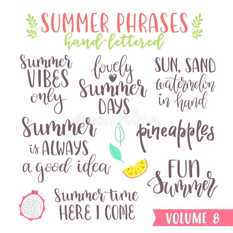 För sommarbokstäver för hand skriftliga uttryck vektor illustrationer