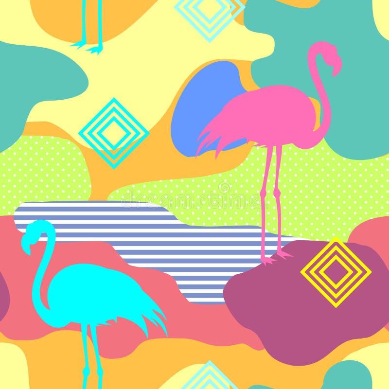 För sommarmodell för härlig sömlös vektor blom- bakgrund med tropiska palmblad, flamingo, hibiskus Göra perfekt för royaltyfri illustrationer