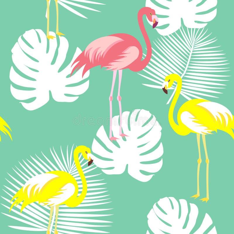För sommarmodell för härlig sömlös vektor blom- bakgrund med tropiska palmblad, flamingo, hibiskus Göra perfekt för vektor illustrationer
