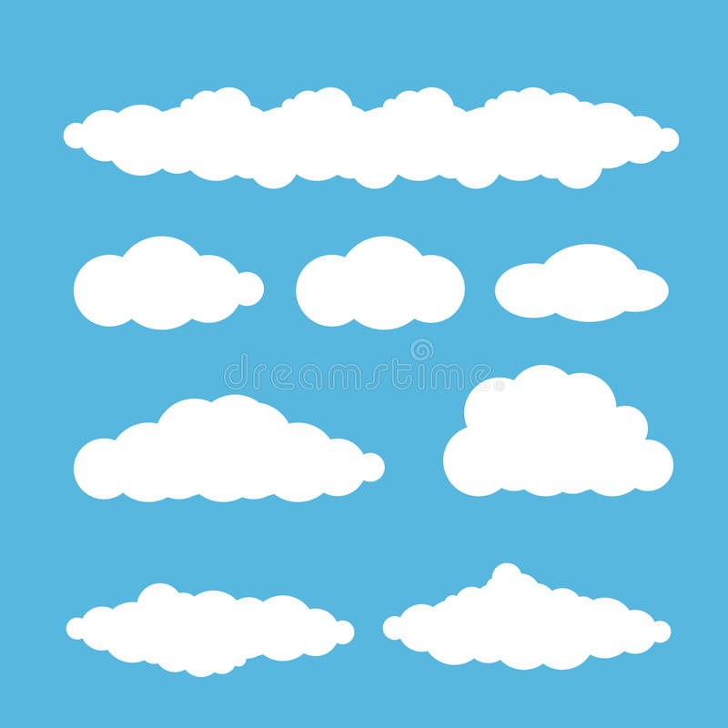 För sommarmoln för vektor som vit uppsättning isoleras på blått royaltyfri illustrationer