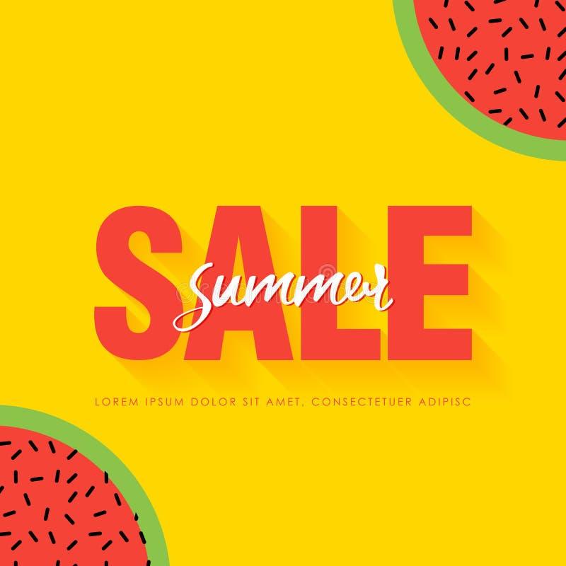 För sommarSale för vattenmelon toppen mall baner Saftiga mogna vattenmelonskivor för origami Sund mat på guling Sommartid vektor illustrationer