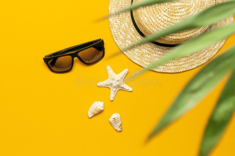 För sommarsugrör för kvinnor s hatt, tropiska palmblad, monsterablad, solglasögon, skal, sjöstjärna på gul bakgrundsöverkant royaltyfri fotografi