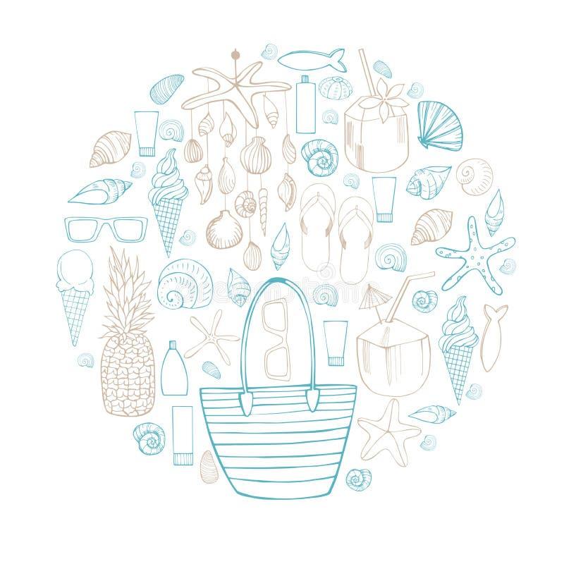 för sommarterritorium för katya krasnodar semester Strandpåsen, snäckskalmobil, beskjuter Vektorillu royaltyfri illustrationer
