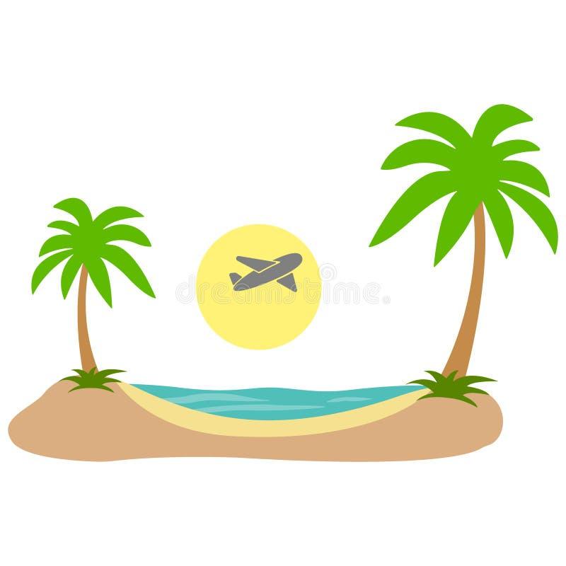 för sommarterritorium för katya krasnodar semester Tropisk önivå i lägenhet för strand för sand för himmelhavskust vektor stock illustrationer
