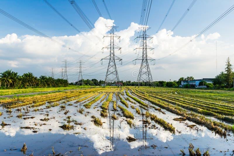 För spänningsmakt för elektricitet hög stolpe arkivfoto