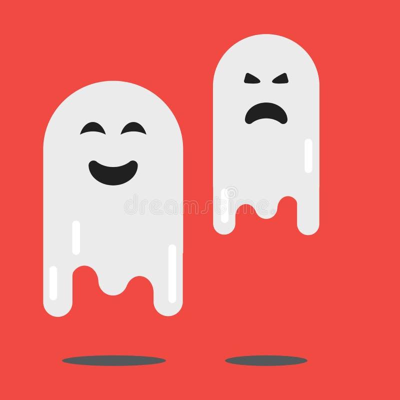 För spöketecken för tecknad film ond kontur för spöklik läskig för ferie gigantisk dräkt för design och kusligt roligt gulligt na vektor illustrationer