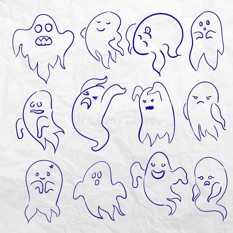 För spöketecken för tecknad film spöklik knapphändig uppsättning för vektor Gigantisk design för ferie KonturHelloween för dräkt  stock illustrationer