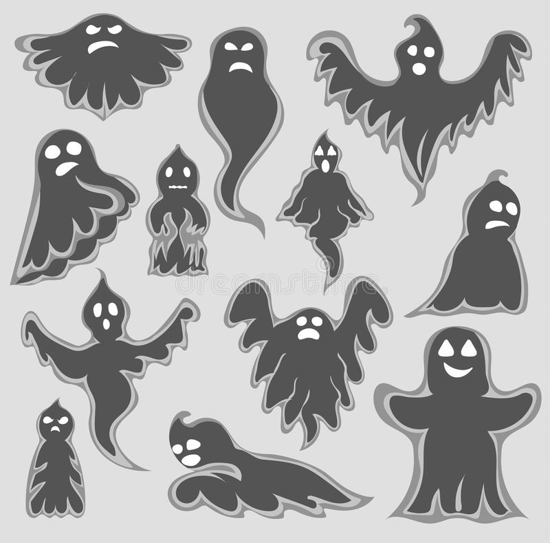 För spöketecken för tecknad film spöklik uppsättning för vektor Tecken för spöke för design för läskig ferie för allhelgonaafton  vektor illustrationer