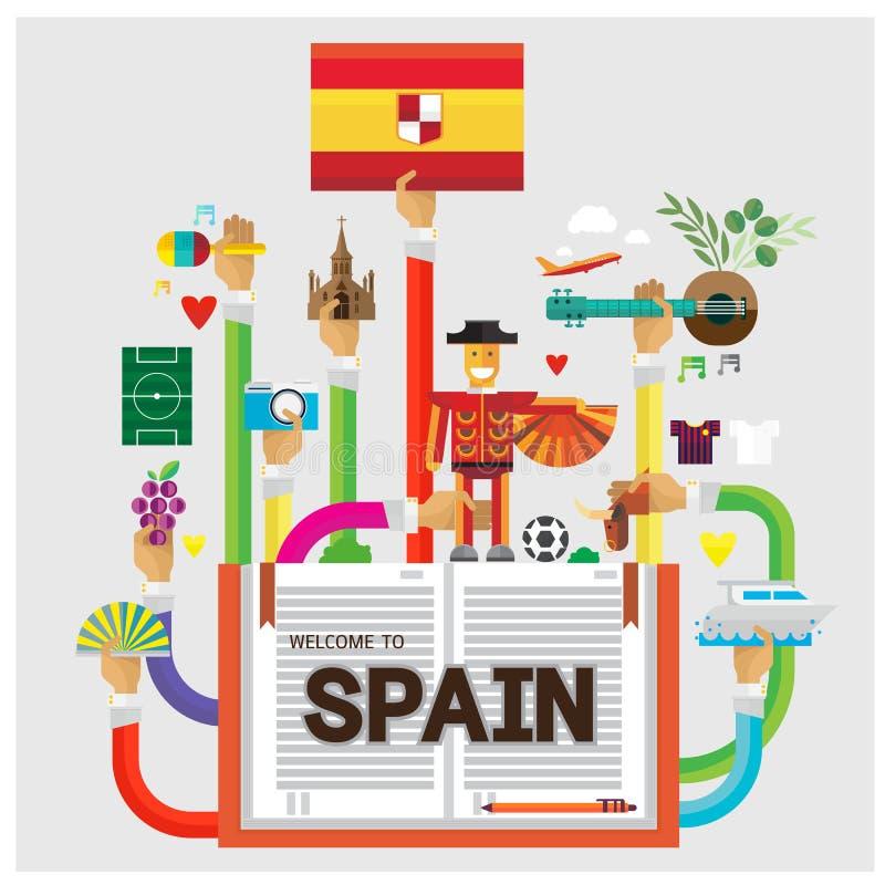 För Spanien för vektor fastställd för barcelona hand illustrat för lägenhet för fotboll för bison lopp stock illustrationer