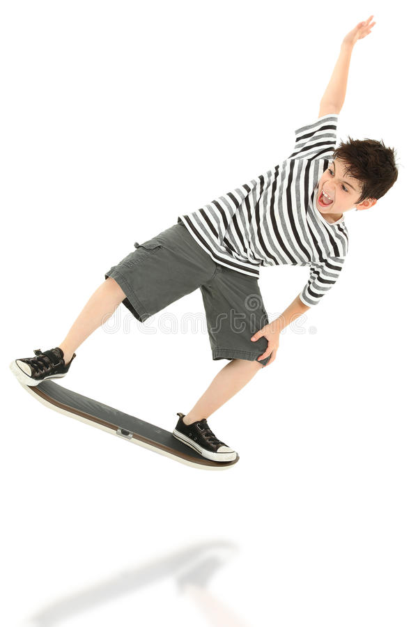 för spelareskateboard för barn modig video arkivfoto