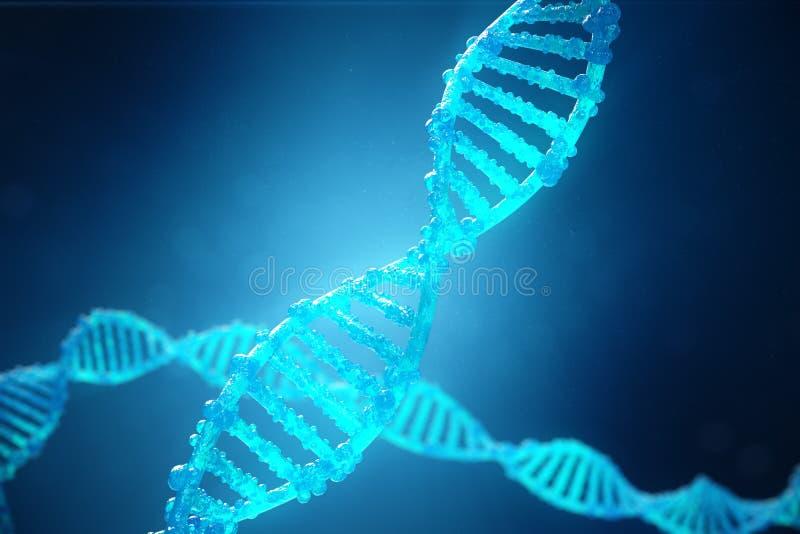 för spiralDNA för illustration 3D molekyl med ändrade gener Korrigera mutation vid genteknik Molekylärt begrepp royaltyfri illustrationer