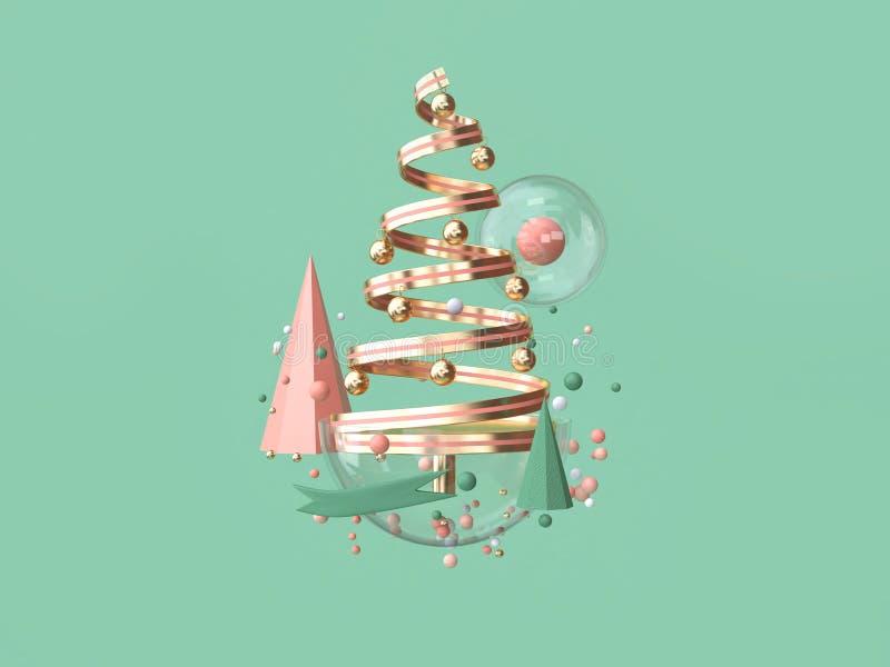 för spolebandet för tolkningen 3d anmärker det abstrakta rosa trädet för jul många garnering som svävar julbegrepp stock illustrationer