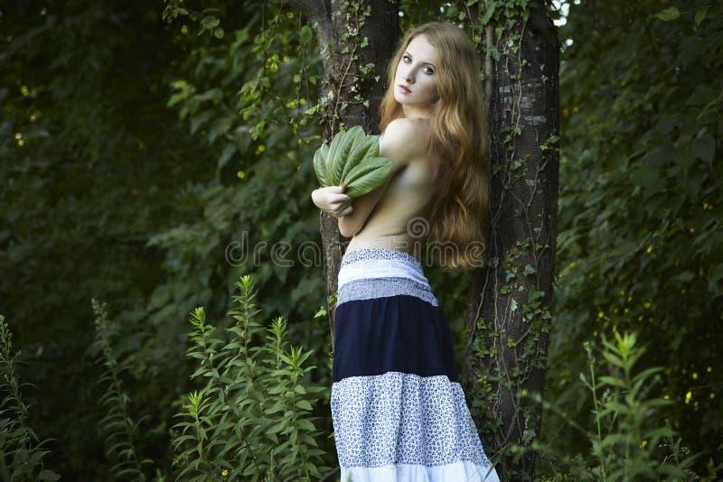 för ståenderomantiker för skog grön kvinna royaltyfria foton