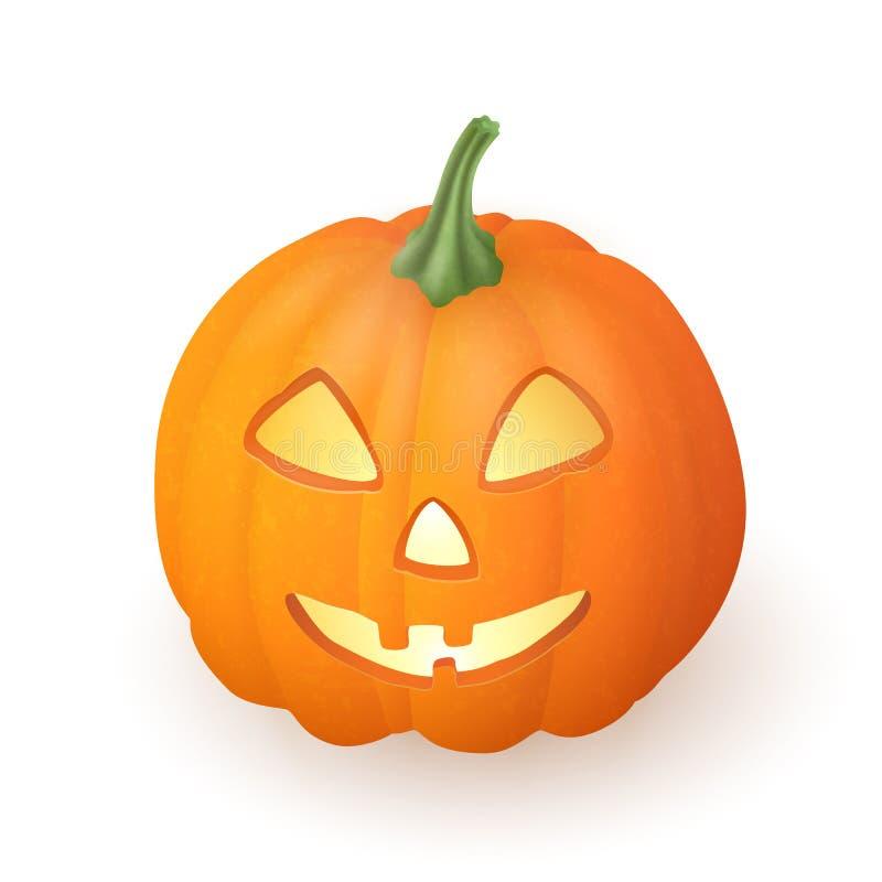 För stålarnolla för tecknad film rolig halloween för lykta pumpa med stearinljusljus inom på vit bakgrund vektor stock illustrationer
