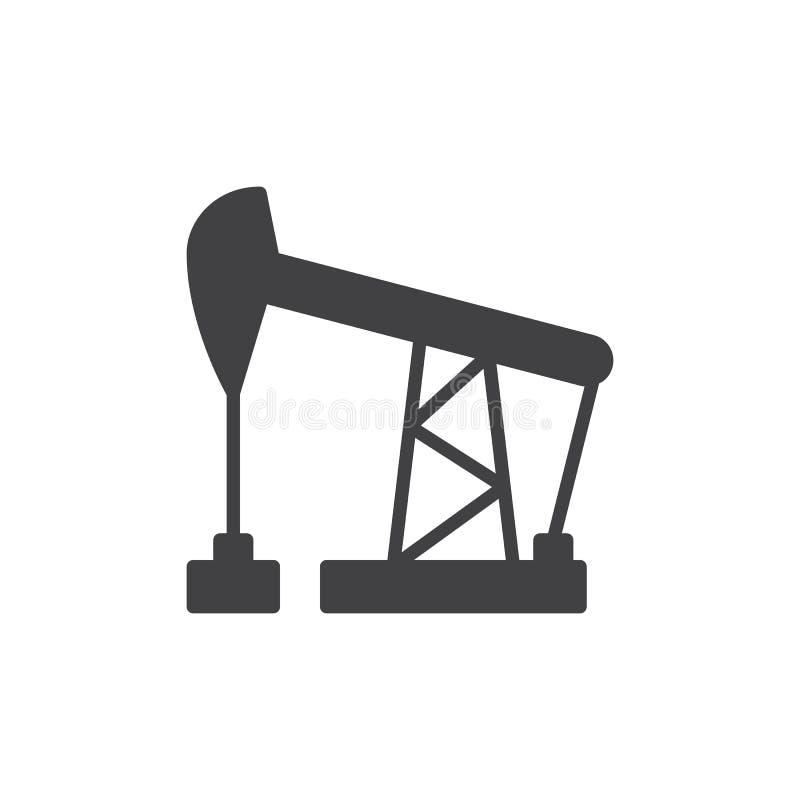 För stålarsymbol för olje- pump vektor, fyllt plant tecken, fast pictogram som isoleras på vit stock illustrationer