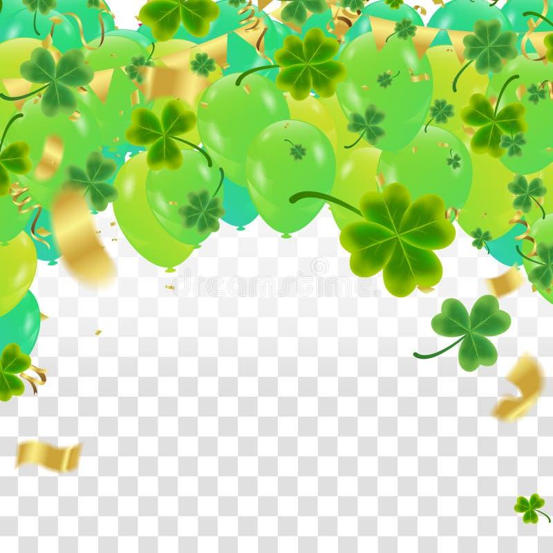 För St Patrick för beröm lycklig bokstäver för dag ` s på mousserande mörker royaltyfri illustrationer