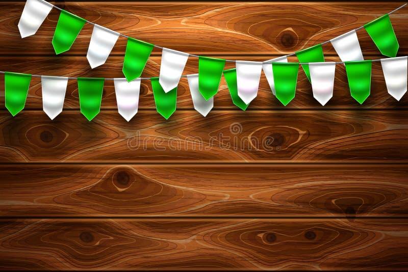 För St Patrick för vektor trärealistisk flagga bunting vektor illustrationer