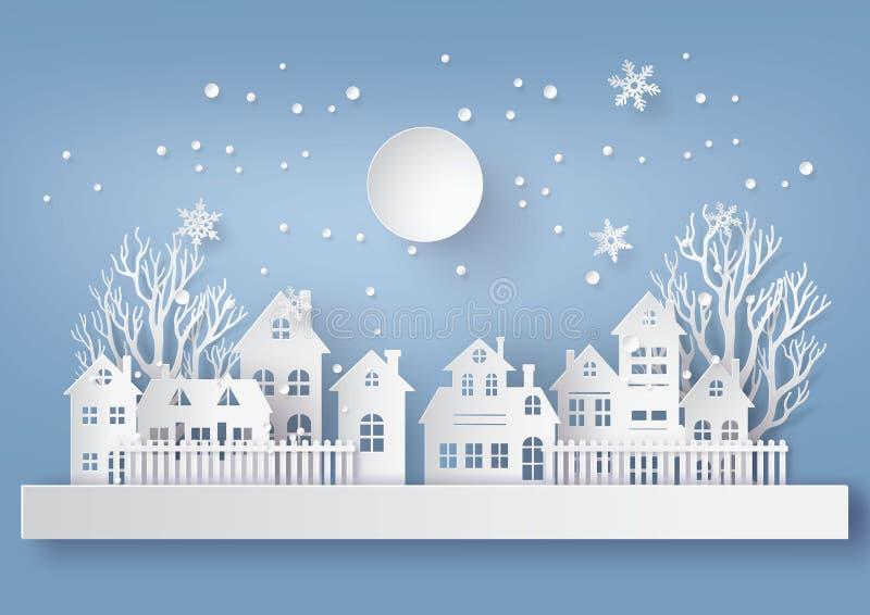 By för stad för landskap för bygd för vintersnö stads- med ful lm vektor illustrationer
