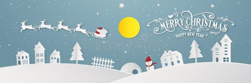 För staddag för glad jul kontur Santa Claus för parti för år för slut för festival för Xmas för snöig natt och för lyckligt nytt  stock illustrationer