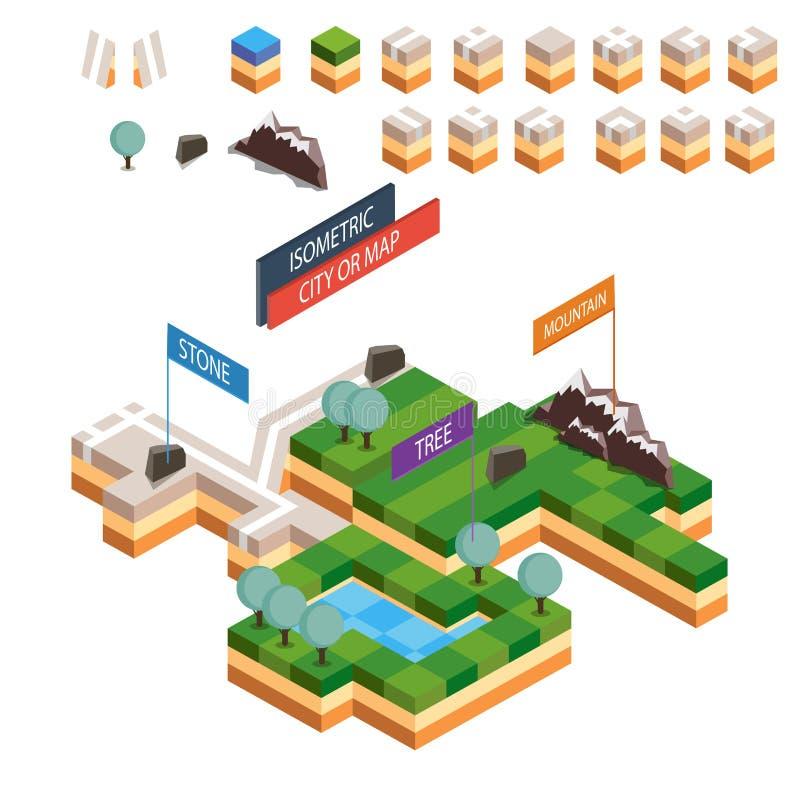 För stadsöversikt för vektor isometrisk sats för skapelse Inkluderar gräs, vatten, stenen, vägen, flaggan, berg, kullen, träd vektor illustrationer