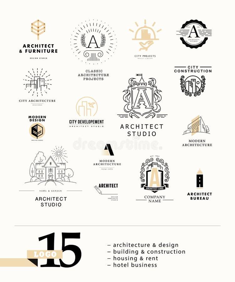 För stadsarkitekt för vektor plan design för logo för studio på den vita bakgrundssamlingen royaltyfri illustrationer