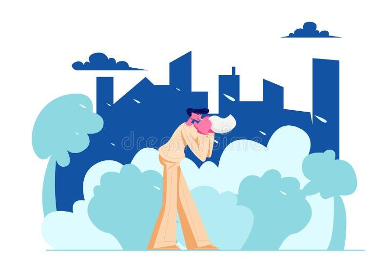 För stadsinvånare för ung man näsa för slag i näsduken som går på gatan i dåligt regnigt väder på Cityscapebakgrund Säsongsbetona stock illustrationer