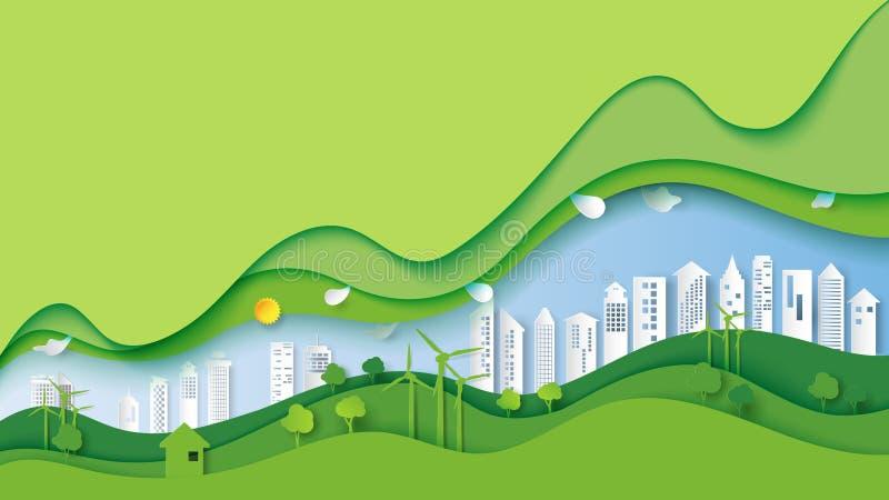För stadsmiljö för grön eco stads- begrepp vektor illustrationer