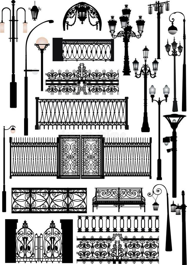 för staketlampor för samling olik gata royaltyfri illustrationer