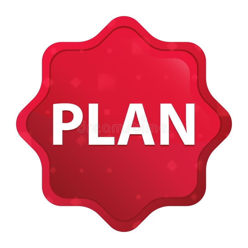 För starburstklistermärke för plan dimmig rosa röd knapp royaltyfri illustrationer