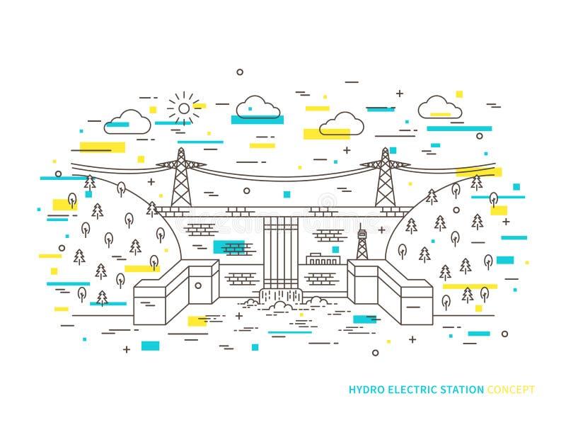 För stationsvattenkraft för linjär hydro elektrisk illustration för vektor för växt royaltyfri illustrationer