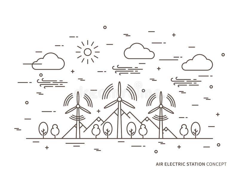 För stationsvektor för linjär luft elektrisk illustration royaltyfri illustrationer