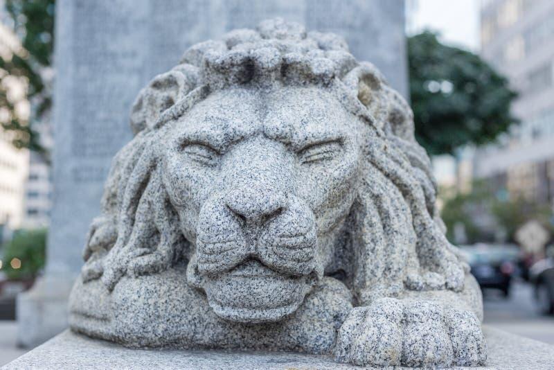 För statystad för lejon G för stillhet för styrka för ögon för head miljö squinning arkivbilder