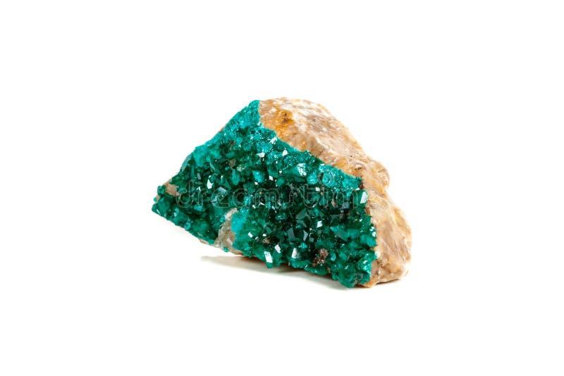 För stenDioptase för makro mineralisk koppar silikat på en vit backgrou arkivbilder