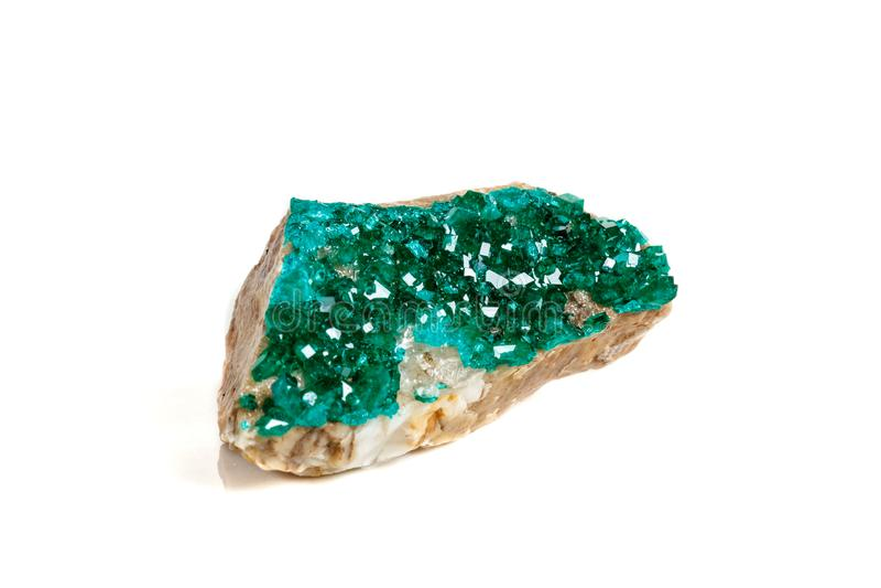 För stenDioptase för makro mineralisk koppar silikat på en vit backgrou royaltyfri fotografi