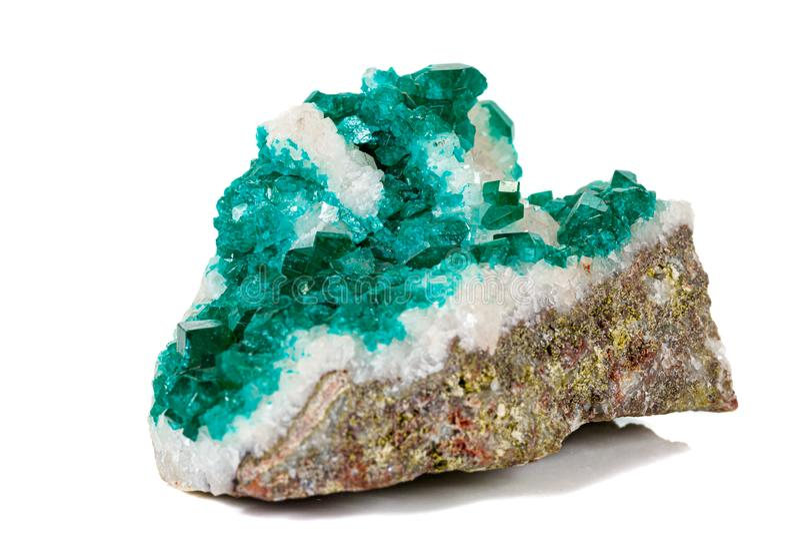 För stenDioptase för makro mineralisk koppar silikat på en vit bakgrund royaltyfria bilder
